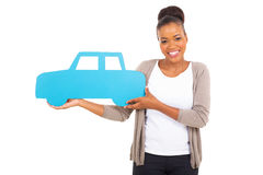African woman car symbol Royalty Free Stock Photos