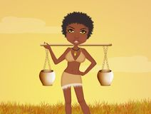 African woman carries water. Illustration of African woman carries water Royalty Free Stock Images