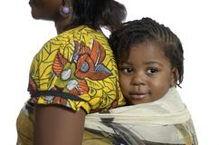 African woman carrying child on back Stock Photography