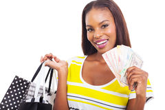 African woman cash Stock Photography