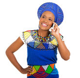 African woman cell phone Stock Image