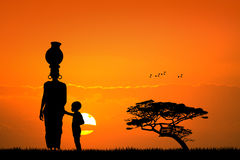 African woman and child in African landscape. Illustration of African woman and child in African landscape Stock Photos