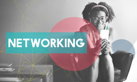 African Woman Connection Device Networking Concept stock image