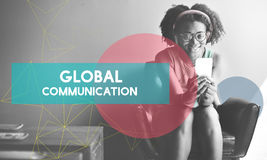 African Woman Connection Device Networking Concept Royalty Free Stock Photography