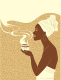 African woman with cup of coffee Royalty Free Stock Photos