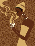 African woman with cup of coffee Stock Photo