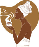 African woman with cup of coffee Royalty Free Stock Image