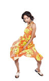 African woman dancing. Is summer time, people are dancing, colorful clothes and happy faces Royalty Free Stock Photos