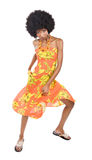 African woman dancing. Is summer time, people are dancing, colorful clothes and happy faces Royalty Free Stock Photography