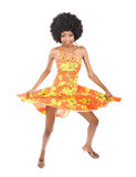 African woman dancing. Is summer time, people are dancing, colorful clothes and happy faces Stock Photography