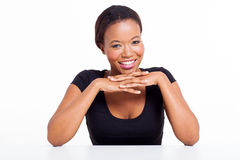 African woman desk Royalty Free Stock Photos