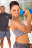African woman dumbbell Stock Photos
