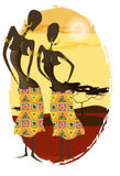African woman face silhouette. Young attractive ethnic woman Royalty Free Stock Photos