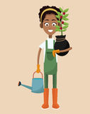 African woman farmer plant and water can. Illustration eps 10 Stock Photo