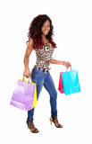 African woman going shopping. Royalty Free Stock Image