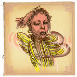 African Woman - An hand drawn vector sketch, freehand, colored  Royalty Free Stock Images