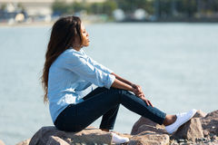 African woman harbour Stock Image