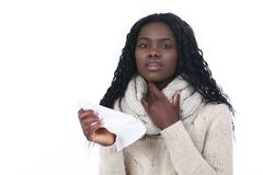 African woman has caught a cold Royalty Free Stock Image