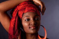 African woman with headwrap stock photos