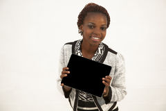 African Woman Holding a Blank black Sign Royalty Free Stock Photography