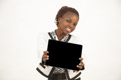 African Woman Holding a Blank black Sign. Against white background Stock Photos