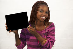 African Woman Holding a Blank black Sign Stock Photos