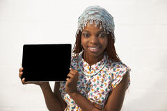 African Woman Holding a Blank black Sign Royalty Free Stock Images