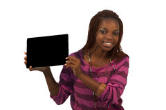 African Woman Holding a Blank black Sign. Against white background Royalty Free Stock Image