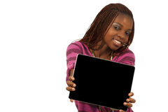 African Woman Holding a Blank black Sign Royalty Free Stock Image