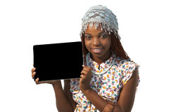 African Woman Holding a Blank black Sign Stock Image