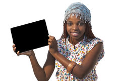 African Woman Holding a Blank black Sign Stock Images