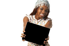 African Woman Holding a Blank black Sign. Against white background Royalty Free Stock Photos