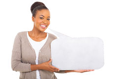 African woman holding speech bubble Royalty Free Stock Photos