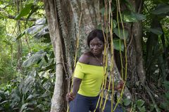 African woman in the jungle stock photography