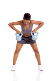 African woman kettle bell Royalty Free Stock Images