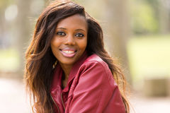 African woman leather jacket Stock Images