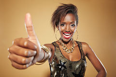 African woman lifting thumb up Royalty Free Stock Photo