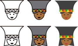 African woman and man icons Stock Images