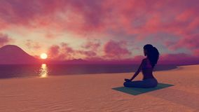 African woman meditating on the beach at sunset 4K stock video footage