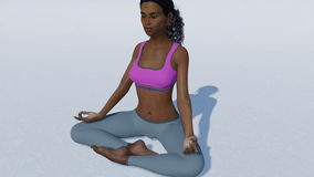 African woman in meditation easy pose close up. Young spiritual african american woman sitting in easy meditation yoga position, pose of happiness on white stock footage