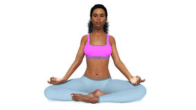 African woman in meditation yoga pose on white. Front view of young attractive spiritual african woman sitting in easy meditation yoga position, pose of Royalty Free Stock Photos