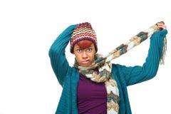 African Woman Mocking Winter Stock Photo