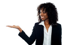 African woman with open palm. Copy space Stock Image