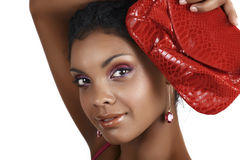 African woman with pink eyeshadows royalty free stock images