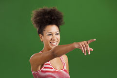 African woman pointing somewhere Stock Images