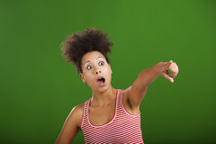 African woman pointing somewhere Royalty Free Stock Image