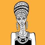 African woman Portrait. Portrait of African woman. Hand drawn ethnic illustration royalty free illustration
