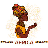 African Woman Portrait. African woman sketch profile portrait on abstract ornamental background vector illustration stock illustration