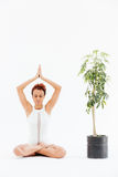 African woman practicing lotus yoga pose near tree in pot Royalty Free Stock Photography