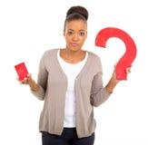 African woman question mark Stock Photos